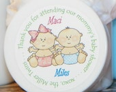 Baby Shower Favors - Personalized Whipped Body Butter (Twins - Maci & Miles)