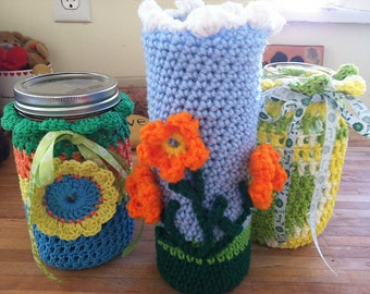 PDF PATTERN - For pimping up your mason jars - crochet