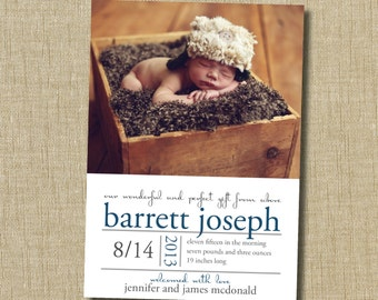 christian birth announcement. custom photo card. photo baby announcement. Our wonderful and perfect gift from above