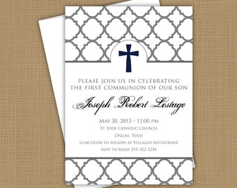 Confirmation invitation. First Communion invitation, Baptism invitation. Christening announcement. boy or girl