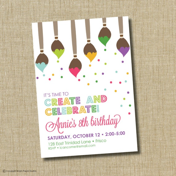 Paint Party Invitation. Art Birthday Party By
