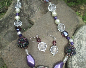 B39 Purple Beaded Necklace Earrings Set Handcrafted Jewelry