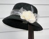 Upcycled  Black Straw Hat