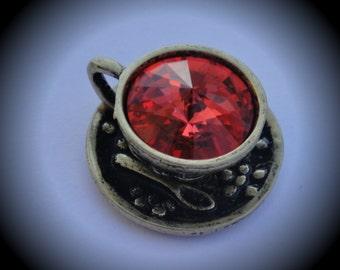 Genuine Swarovski Crsytal Tea Cup Rivoli In Padparadscha Pendant