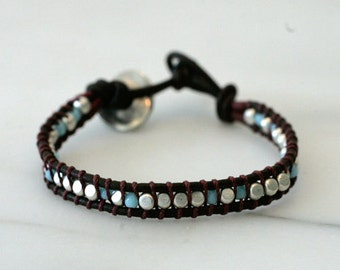 Handmade New 925 Sterling Silver & Turquoise Bead Bracelet Lola Made in Israel