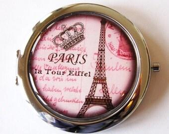 Paris compact mirror, pink mirror, purse mirror, Paris, compact mirror, double sided mirror (1999)