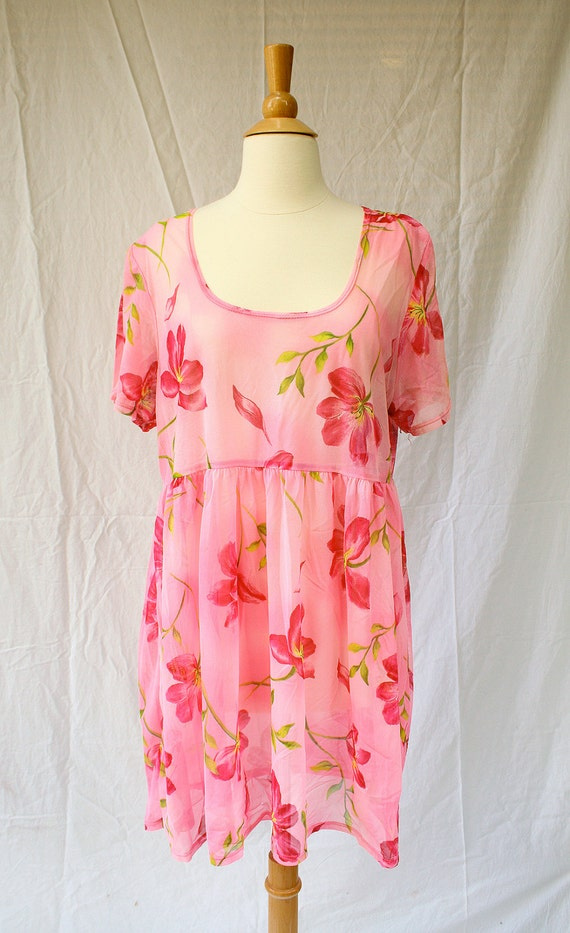 Pink Mesh Floral Mini Dress