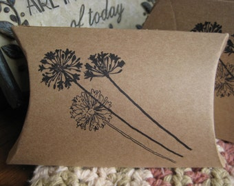 Dandelion Pillow box -Kraft party favor gift boxes