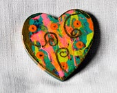 OOAK Pink Green Heart Fridge Magnet Handpainted