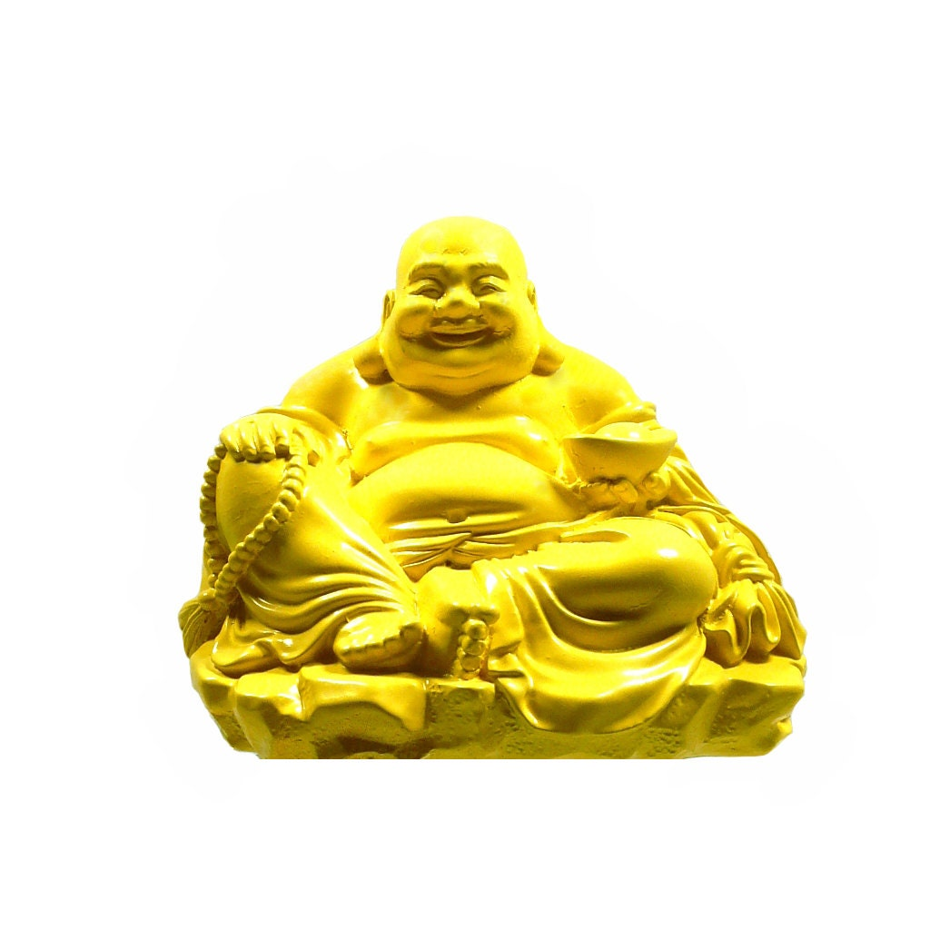 yellow buddha statue home decor upcycled figurines zen by nashpop. Black Bedroom Furniture Sets. Home Design Ideas