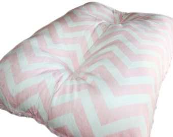 Pet Crate Mat Pink and White Chevron Minky Pet Bed