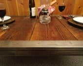 Industrial Dining Table, Antique Barn Wood, Raw Steel Edge, Hairpin legs, Quality, Character, Customizable