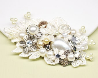 Bridal Hair Comb- Vintage Inspired Hair Piece- Wedding Hair Accessories- Wedding Hair Comb- Champagne Bridal Comb- Bridal Hairpiece