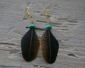 3 Inch Specaled Rusty Brown and Black Bantam Feather Earrings