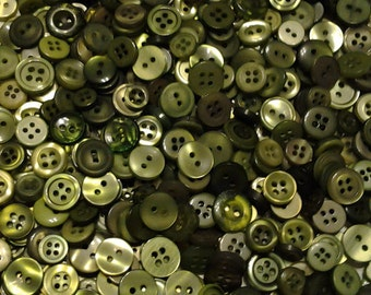 """200 Small Assorted Dark Green, Olive Green, Sage Green and Moss Green Buttons, small sizes 1/8"""" up to 5/8"""""""