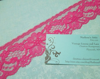 Pink lace, 1 yard of 2 inch Hot Pink Chantilly lace trim for bridal, baby, wedding, valentines, romantic, couture by MarlenesAttic - Item N0