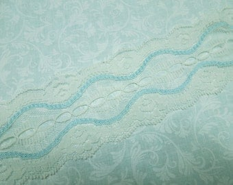 1 yard of 2 1/2 inch White and Light Blue Galloon Chantilly Lace trim for bridal, baby, costume, crafts by MarlenesAttic - Item X9