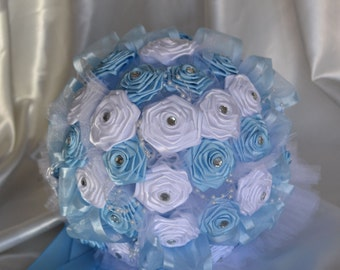 Wedding Bouquet Satin Light Blue with White Flowers, Round Baby Blue Bouquet