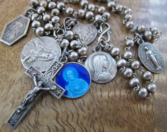 Gorgeous Silver Vintage Rosary with Beautiful Medals