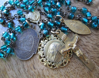 Gorgeous Green Glass Vintage Rosary with Extra Medals