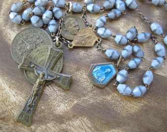 Gorgeous Grey Vintage Brass Rosary with Enamel Medal