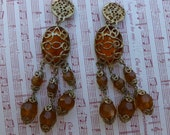 Large Amber Gold detail Mesh dangled Clip Earrings.