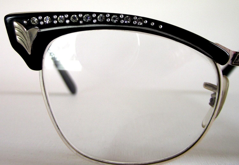 Glasses Frames With Diamantes : 1950s Vintage Diamante Cat Eye Eyeglasses. by VintageAndLoved