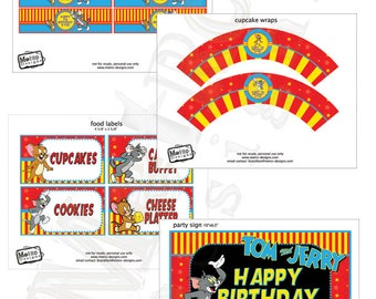 Tom and Jerry Party Decorations, Tom and Jerry Birthday, Tom and Jerry Banner, Tom and Jerry Party Decor, Tom and Jerry Labels