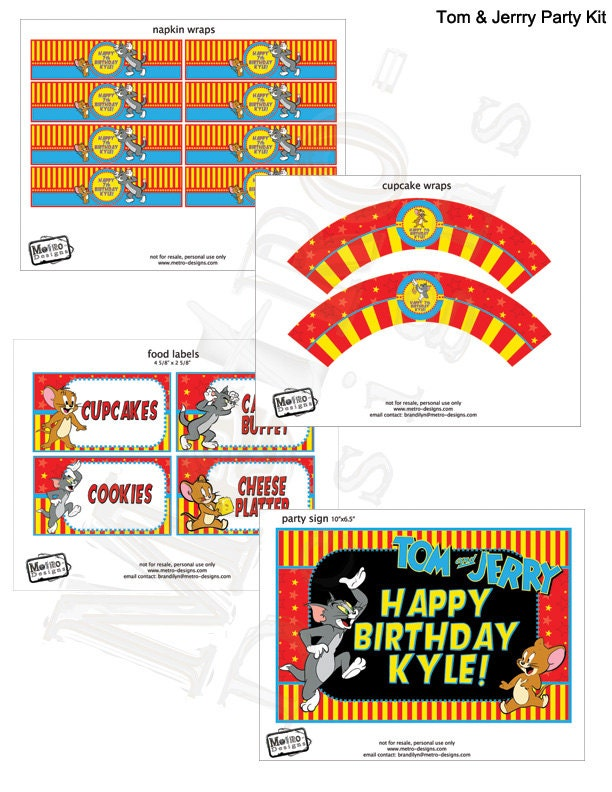 Tom and Jerry Party Decorations Tom and Jerry Birthday Tom