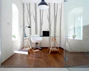 Birch Tree Wall Decal, Forest Wall Decal, Living Room Decor, Birch Tree Wall