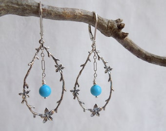 Turquoise Statement Earrings- Sterling SIlver Branches- Woodland Jewelry- Genuine Turquoise- December Birthstone Earrings