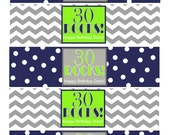 """Printable """"30 ROCKS"""" Milestone Birthday Water Bottle Labels and Tent Cards in Navy, Green, & Gray for ANY age"""
