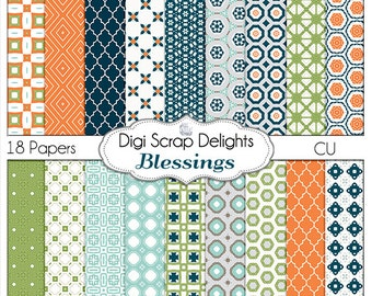 Blessings Digital Papers, Navy, Orange, Blue, Green  Card Making, Photographers,Project Life Style, Instant Download