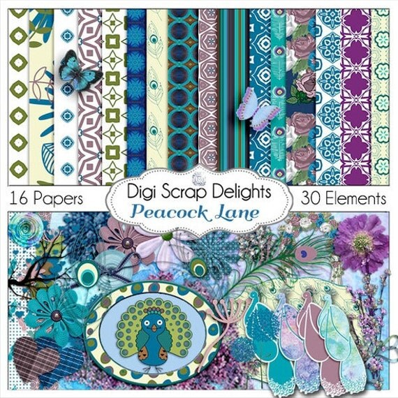Peacock Digital Scrapbook Kit Radiant Orchid, Turquoise, Aqua Blue, Purple, Green for Digital Scrapbooking, Cards, Instant Download