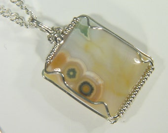 Ocean Jasper Sterling Silver wire wrapped pendant necklace jewelry FREE SP chain 3463D
