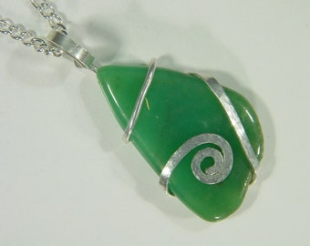 Sterling Silver Wire Wrapped Natural Green Chrysophrase Necklace Pendant with Free SP Chain 3697D