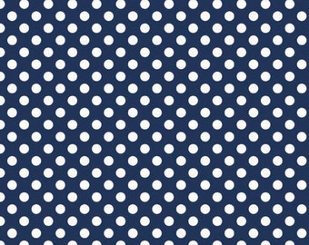 In stock now-Small Cotton Dots in Navy-by Riley Blake- 1 yard