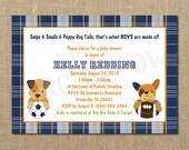 Bow Wow Sporty Dog Baby Shower Invitation - Digital File