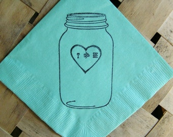 Rustic Personalized Mint Mason Jar Wedding Dinner Luncheon Napkins with Heart and Mixture Initials - set of 50