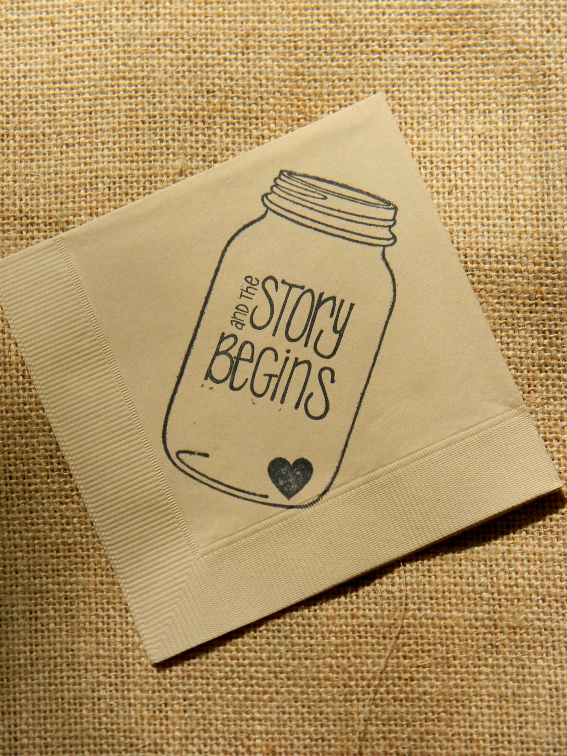 Wedding Personalized Napkins rustic light burlap the story begins mason jar napkins wedding