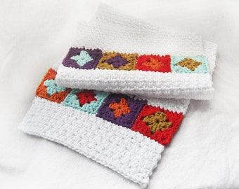 SALE - 20% OFF -- Retro Granny Square Dishtowel Handtowel, Cotton - White Red Orange Gold Aqua Purple - Kitsch Kitchen Hostess Bridal Gift