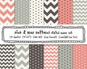 digital paper pink and gray, chevrons polka dots, digital backgrounds, instant download printable paper patterns, card making - 444