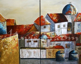 "Title ""Tejados"" abstract city  60in x40in Original painting by Mavis"