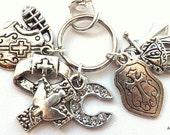 Christian Keychain, Put on the Full Armor Of God Keychain, Personalized Ephesians 6 Keychain, Initial Charm, Birthstone Charm, Armour of God