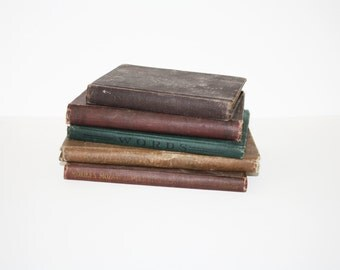 Vintage Lot of Books // Neutral Brown and Green // Schoolbooks and Reference Books