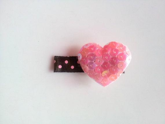 Baby Hair Clip, Pink Baby Hair Clip, Heart Hair Clip, Spring, Baby girl hair accessories, Infant girl hair clip, hair clip