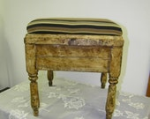 Vintage Shoe Shine Stool with Upholstered Top