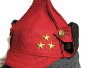 Red and Black Russian hat made with recycled felt