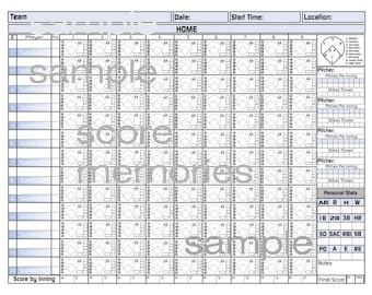 PRINTABLE Baseball or Softball Score Sheets