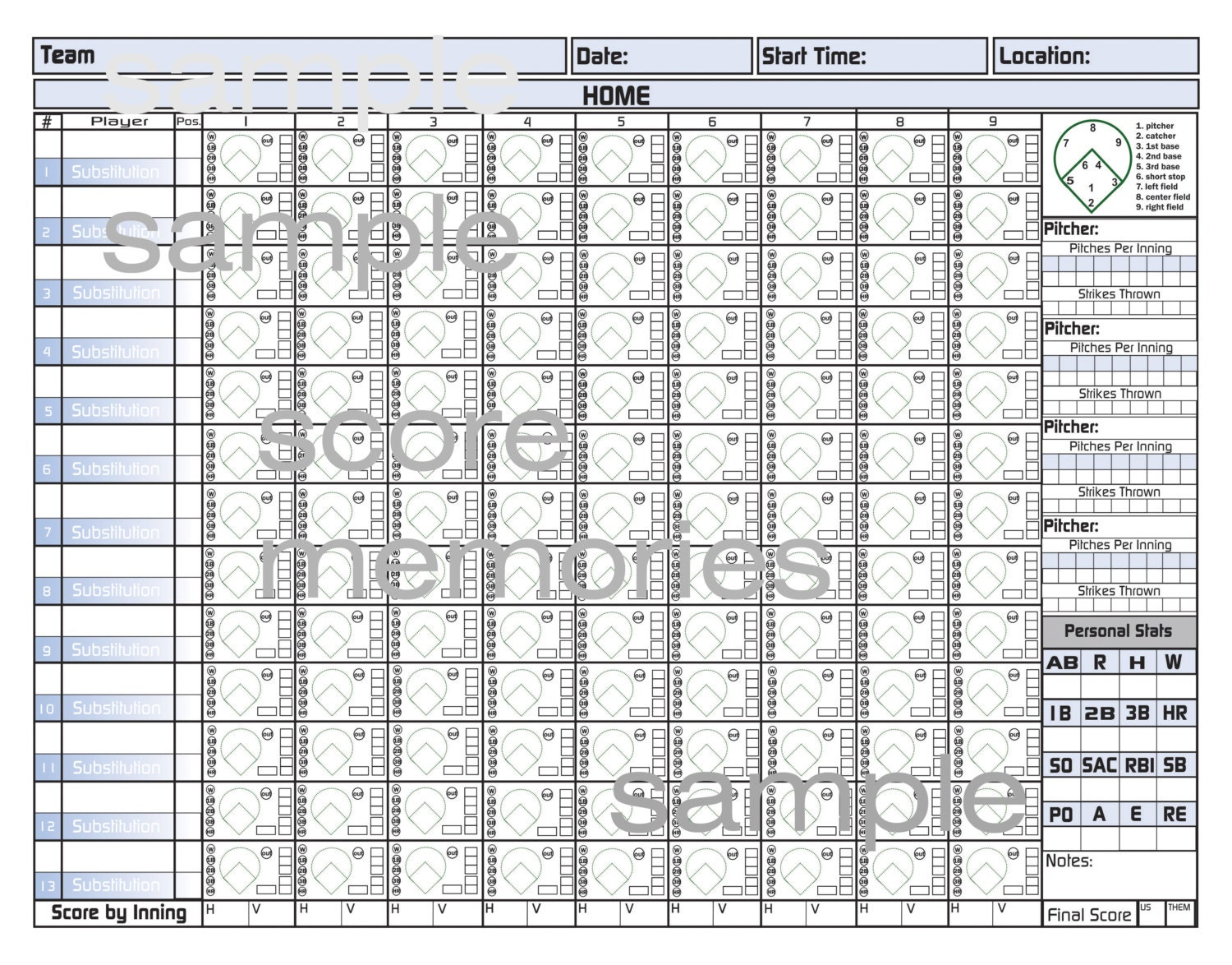 This is an image of Playful Printable Baseball Score Sheet
